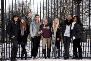 Prospectus, students, Albert Park, gates, bandstand, snow, bench
